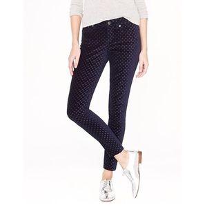 J. Crew Ankle Toothpick Jeans in Velvet Dot